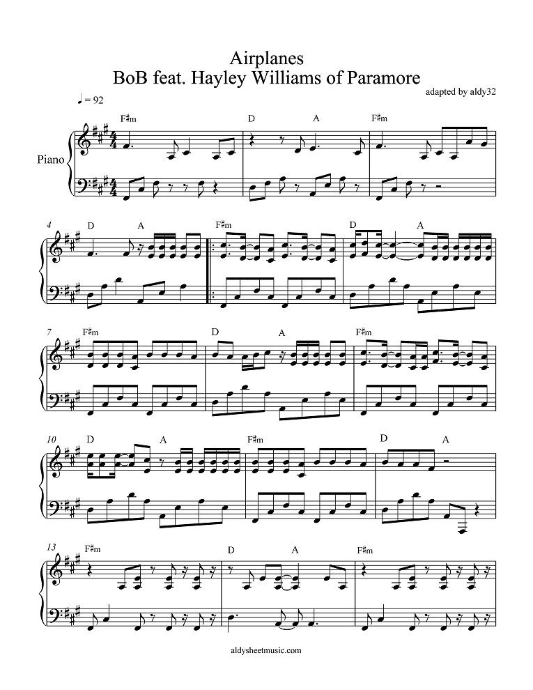 All Music Chords paramore sheet music : Aldy Sheet Music Airplanes - BoB feat. Hayley Williams of Paramore