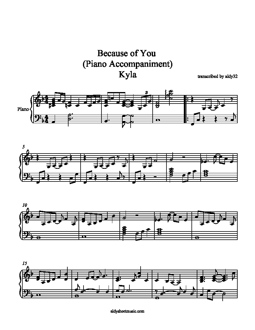 because of you pdf piano
