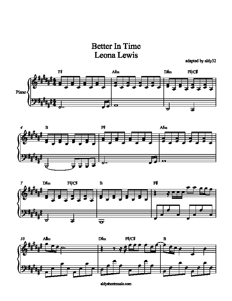 Leona Lewis Better In Time Chords Run Sheet Music Direct Mtm