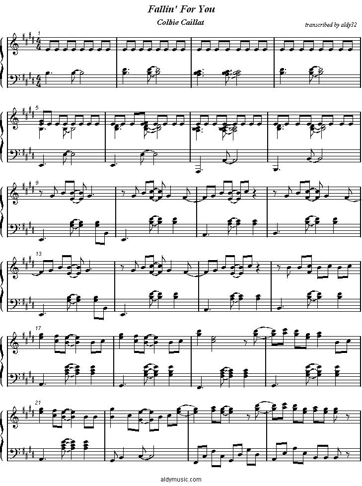 All Music Chords paramore sheet music : Aldy Sheet Music Fallin' For You - Colbie Caillat
