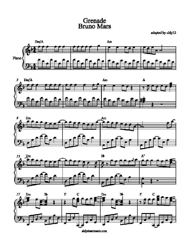 "Aldy Sheet Music » Blog Archive » ""Grenade – Bruno Mars ..."