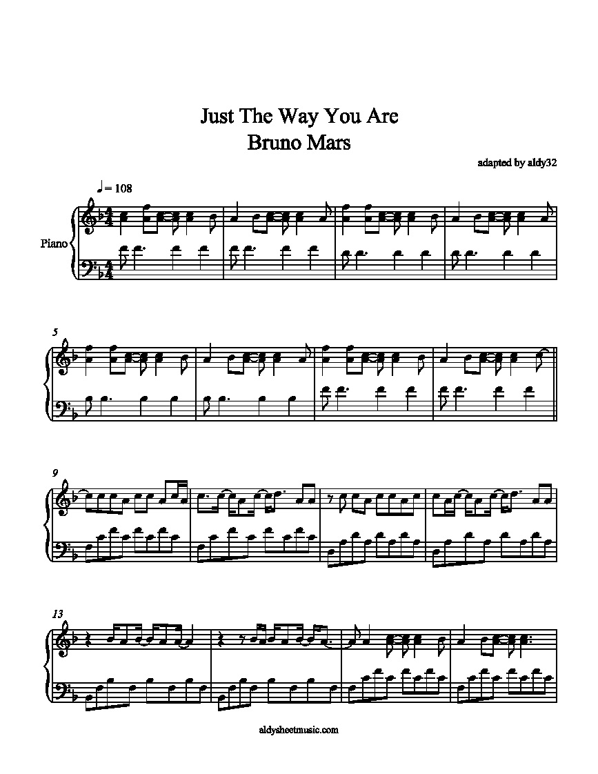 just the way you are bruno mars sheet music for just the way you are ...