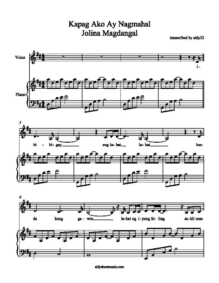 Aldy Sheet Music Kapag Ako Ay Nagmahal - Jolina Magdangal (Piano Accompaniment)