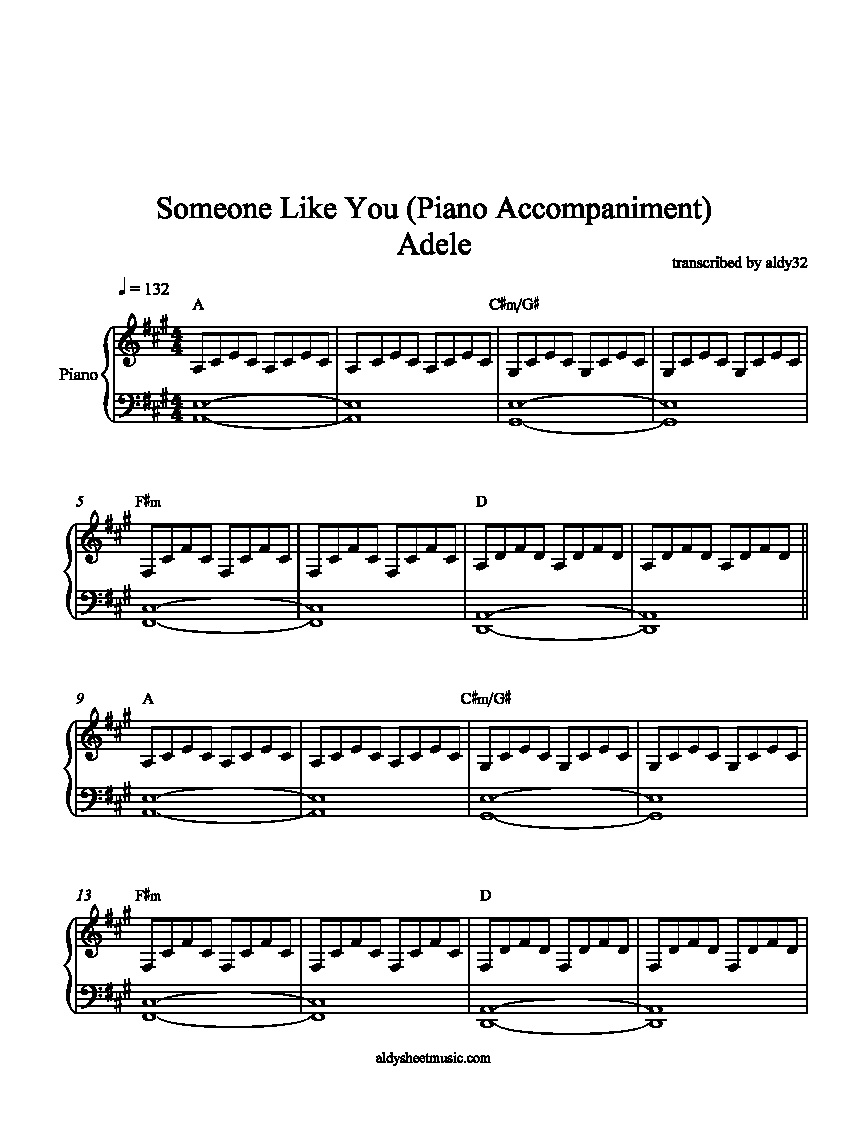 Someone Like You - Adele - Free Piano Sheet Music